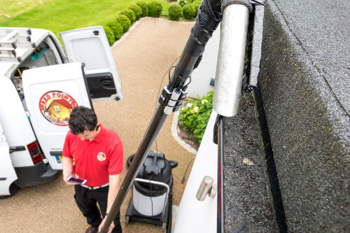 red point cleaning gutters